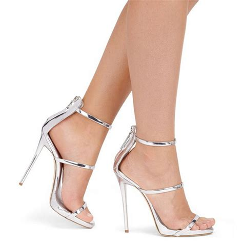 silver strappy high heels metallic strappy sandals silver gold platform