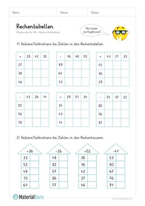 arbeitsblatt rechentabellen addition bis  mix