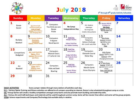summer camp schedule for july traditional academy 861 | Summer Camp 1st through 8th July 2018 calendar