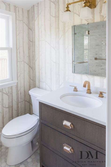 Bathroom with Woods Wallpaper   Transitional   Bathroom