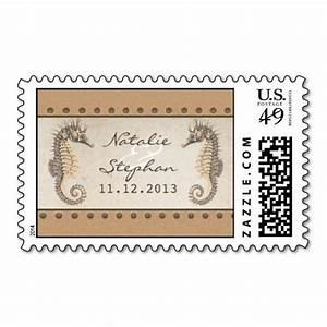 seahorses wedding invitations postage stamps With wedding invitations post cost