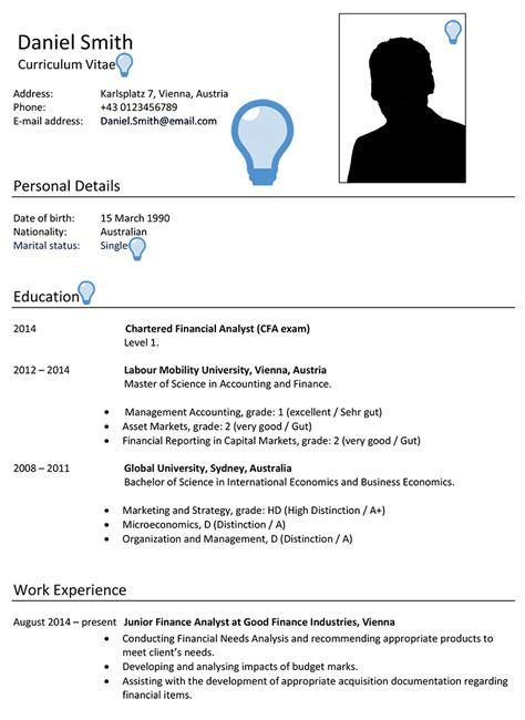 austria cv sample careerprofessorworks