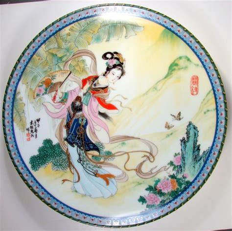 chinese hand porcelain wall plate wwoman  garden characters signed  images japanese
