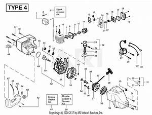 Poulan Featherlite Gas Trimmer Type 4 Parts Diagram For Engine Assembly Type 4