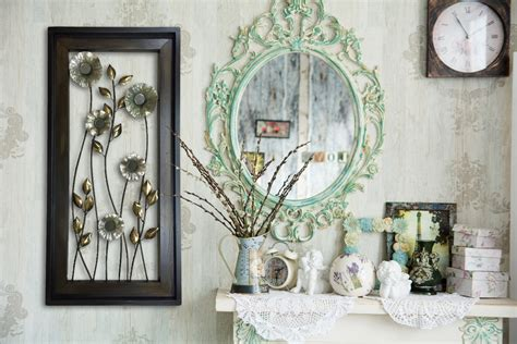 metal wall wood framed flowers mirrors home decor large