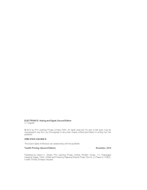 Download Electronics: Analog And Digital by I. J. NAGRATH