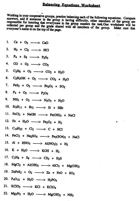 Balancing Equations Grade 10 Worksheet  Algebra Worksheetsbalancing Equations Worksheet 9th