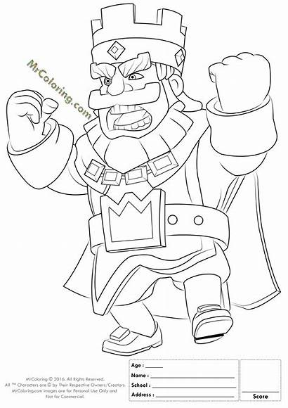 Coloring Clash Royale Pages Printable King Enter