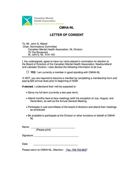 sample letter  consent template printable
