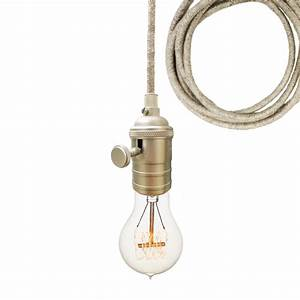 Sweater cloth cord nickel bare bulb pendant light