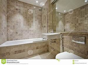 Contemporary Bathroom With Natural Stone Tiles Stock Image Image of domestic, area: 9091291