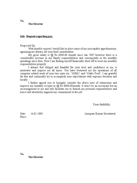 salary increment letter format  employee