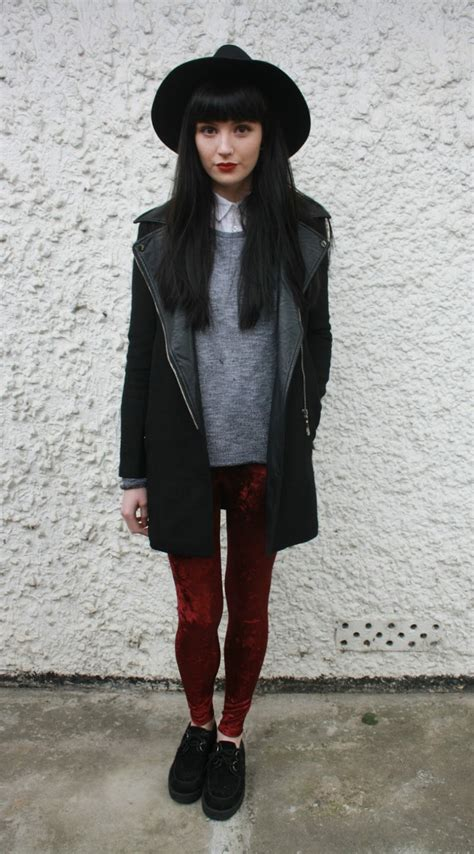 Edgy as it has to be white collar grey jumper red velvet leggings long black jacket | casually ...