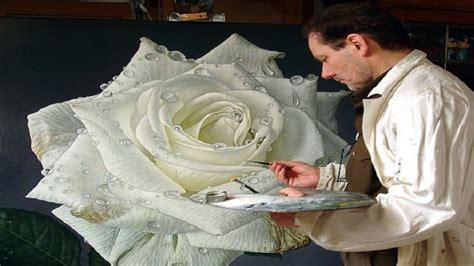 Large Flower Paintings Of Dewdrop Covered Roses By