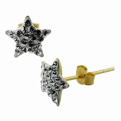 Ear Gold Jeweled 9k Stud Multi Star