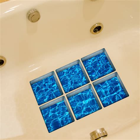 6pcs 13x13cm 3d anti slip waterproof pvc bathtub sticker