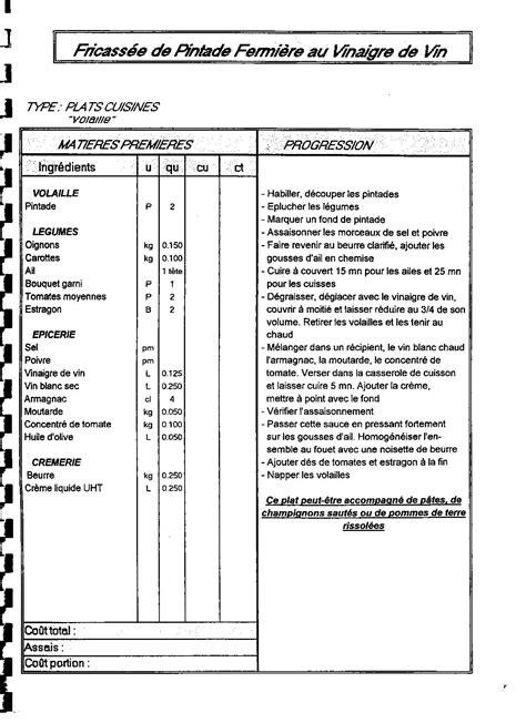 fiche de poste second de cuisine fiche technique cuisine avec le logiciel access 2010