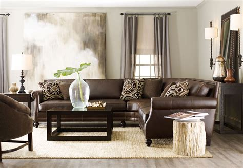 bernhardt brae sofa leather brae sectional with petrified side table bernhardt