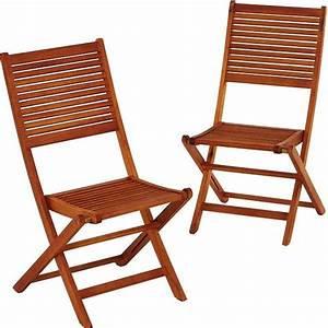 Chaise Jardin Bois : lot de 2 chaises de jardin en bois eucalyptus trigano store ~ Teatrodelosmanantiales.com Idées de Décoration