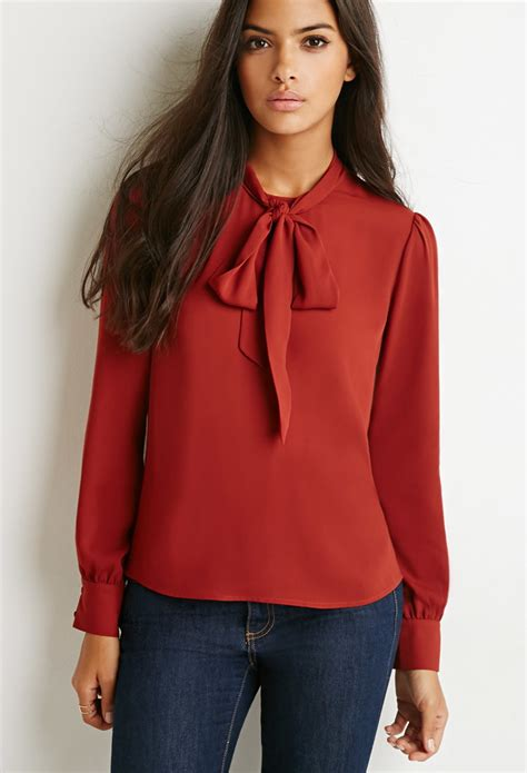 bow neck blouse lyst forever 21 bow high neck blouse in purple