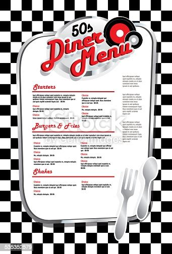 late night retro  diner menu layout  red lettering
