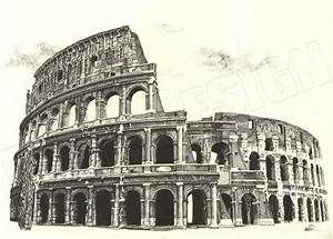 Colosseum Cross Hatching - Hand drawn with fineliner pens ...