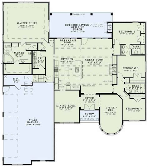 european house plans one story european style house plans 3052 square foot home 1 story 4 bedroom and 3 bath 3 garage