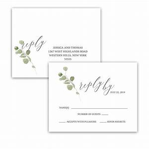 eucalyptus wedding program watercolor greenery design With wedding rsvp cards postcard style