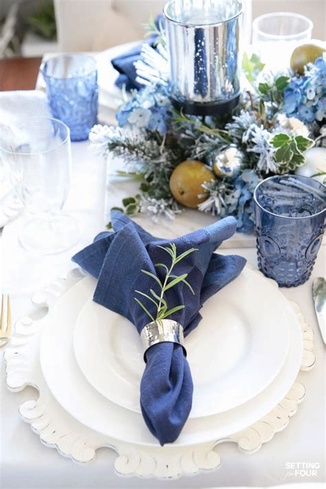 blue and white table centerpieces elegant fall table settings with a blue and white palette setting for four