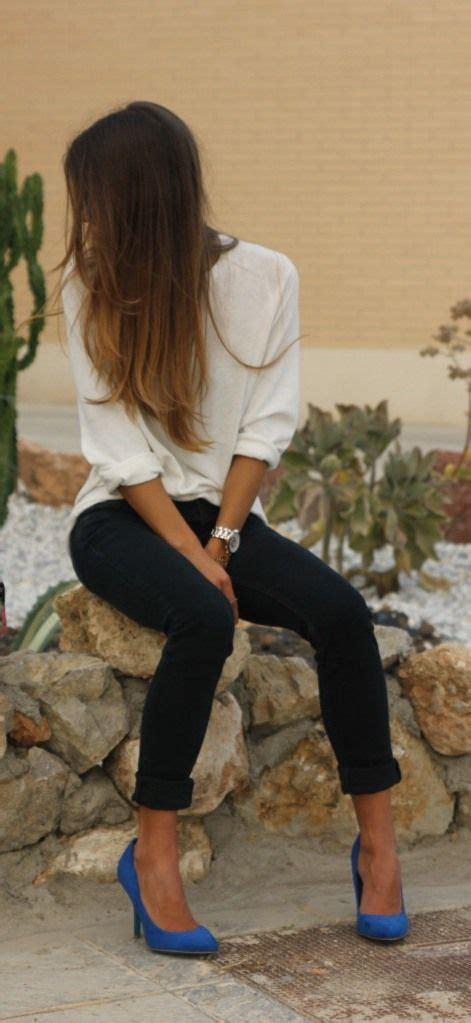 Simple and easy way to spruce up a casual outfit! white blouse w/ dark skinny jeans topped off ...