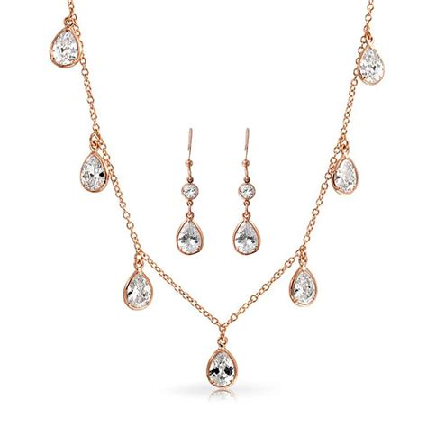 Rose Gold Plated Bezel Cz Teardrop Bridal Necklace