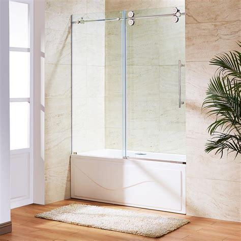 sliding glass shower doors for bathtubs vigo elan 60 in x 66 in frameless sliding tub door in