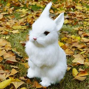Lifelike Realistic White Sitting Rabbit Decor Figurine
