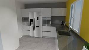 Frigo Americain Avec Glacon : style utop e cuisine blanche moderne avec frigo americain ~ Premium-room.com Idées de Décoration