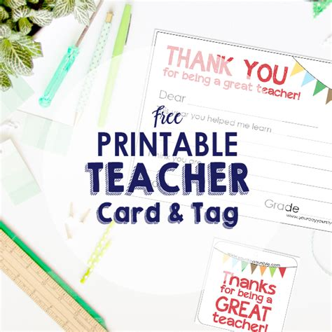 19 of the best free teacher gift and teacher appreciation gift card printables. Free Teacher Appreciation Note Card and Gift Tag