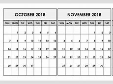 Printable Calendar October November 2018 – Business