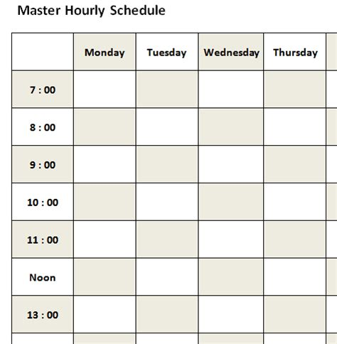 hourly schedule template bookletemplateorg