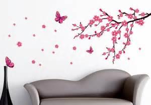cherry blossom branch with butterflies wall decal vinyl sticker