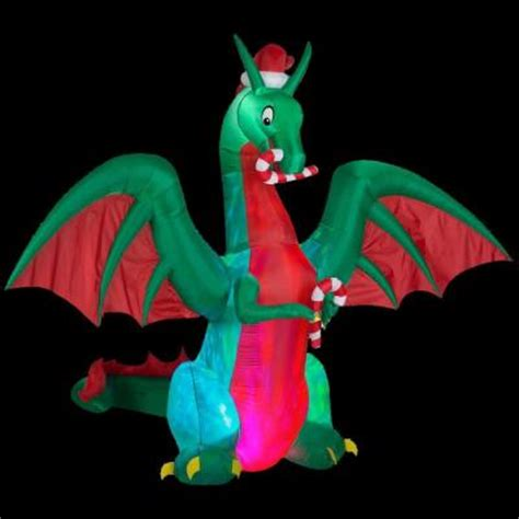 gemmy  ft  inflatable holiday dragon   home depot