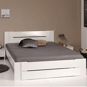 Lit Blanc Adulte : lit adulte 160x200cm carly blanc ~ Teatrodelosmanantiales.com Idées de Décoration