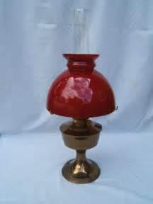 vintage aladdin 23 brass oil l cherry red shade working
