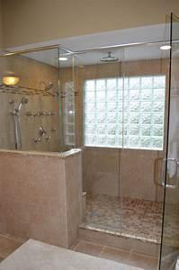 Walk in shower with glass block windows bathroom ideas for Bathroom window glass styles