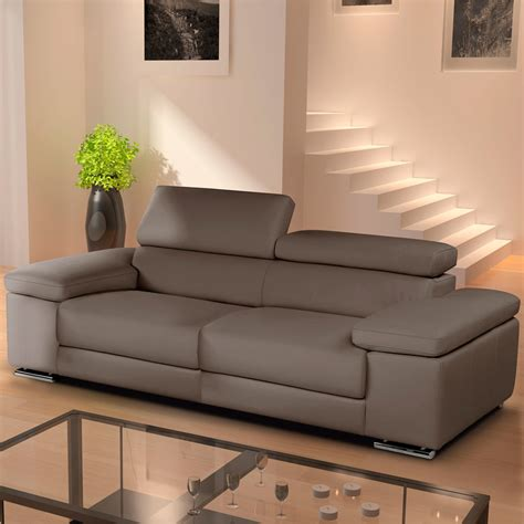 nicoletti lipari italian taupe leather 2 seater sofa