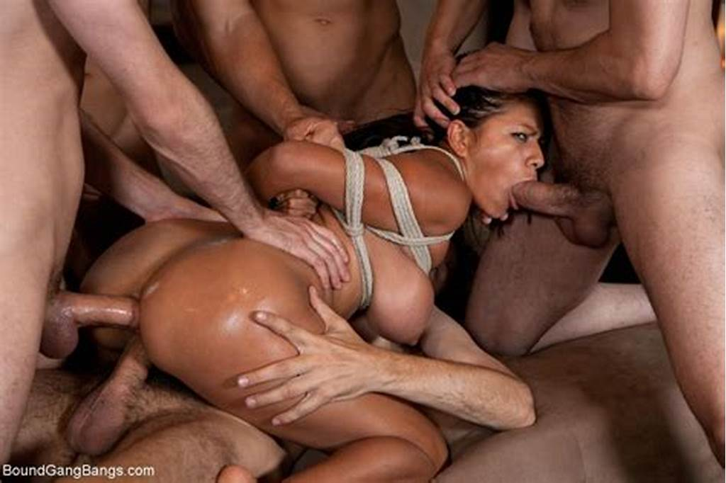 #Sexy #Babe #Gets #Tied #Up #Punished #And #Fucked #By #Group #Of