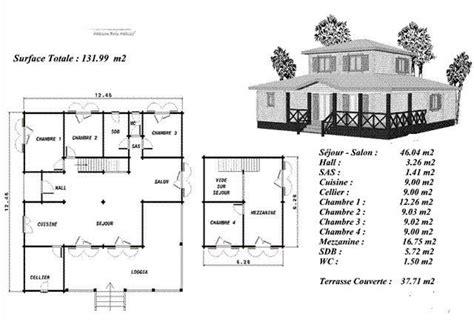 plan de maison plain pied 4 chambres plan maison bois modéle erable avec étage décalé au centre