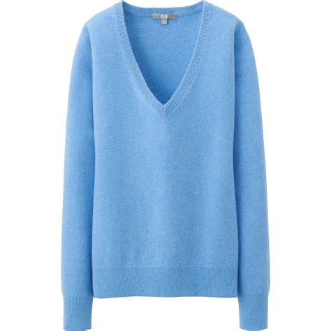blue sweater uniqlo v neck sweater in blue for lyst