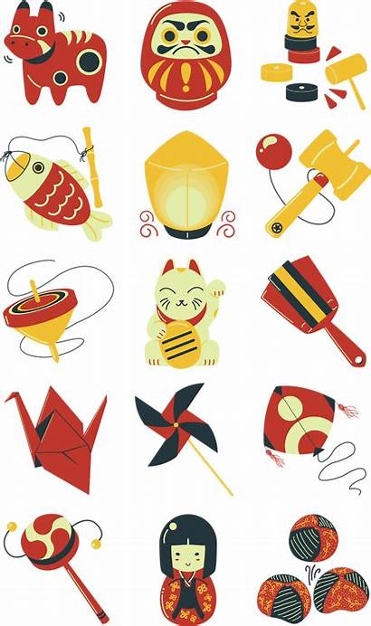 Traditional Japanese Clipart Icons Samurai Toys Transparent