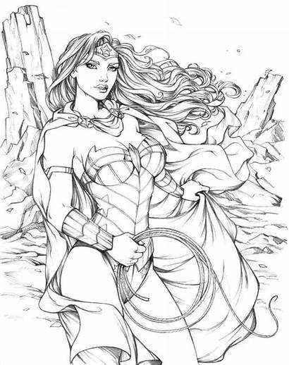 Coloring Pages Woman Wonder Super Superhero Adults