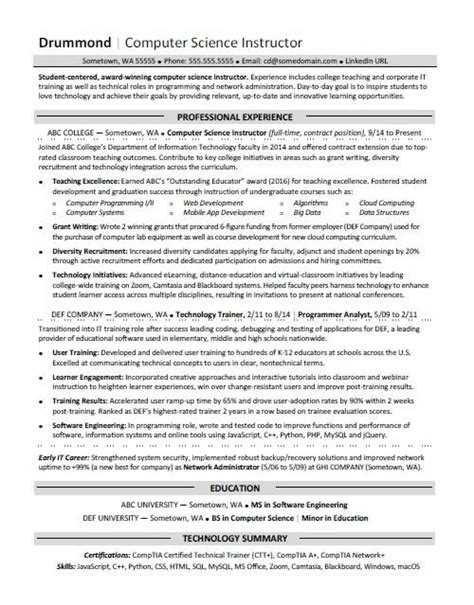 Computer Science Resumes by Computer Science Resume Sle