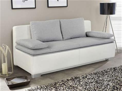 Schlafsofa, Couch Duana 202x96cm, Hellgrau Weiss
